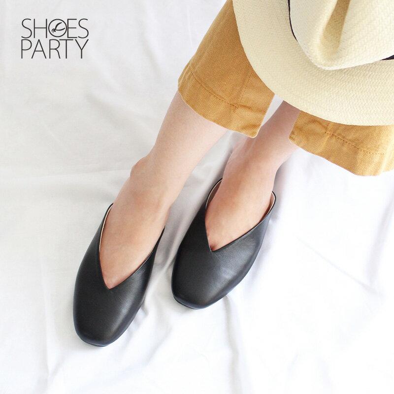 【S2-18529L】小方頭真皮穆勒鞋_Shoes Party 1