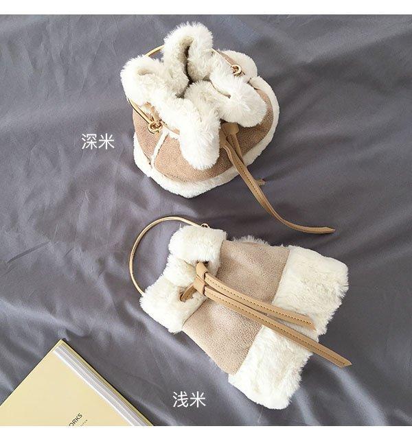 韓版可愛毛毛手提包迷你水桶包復古撞色單肩包斜背包 2