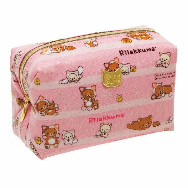 【真愛日本】15100300094 亮膠寬口化妝包-變裝貓 拉拉熊Rilakkuma 包包 化妝包 雜物包 生活