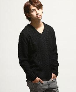 V領毛衣BLACK
