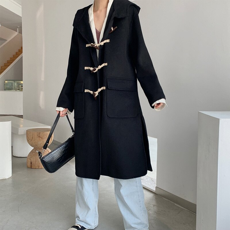 毛呢大衣羊毛外套-長版黑色牛角扣連帽女外套73wb13【獨家進口】【米蘭精品】 0