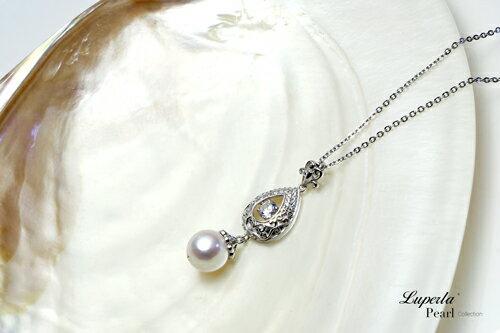 大東山珠寶 星芒 日本AKOYA天然海水珍珠純銀晶鑽項鍊 3
