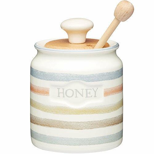 《KitchenCraft》蜂蜜匙+木蓋陶罐(復古條紋)