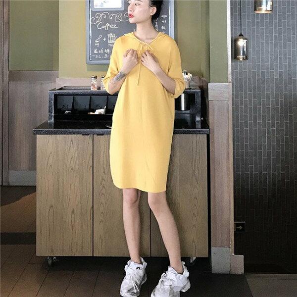 短袖洋裝素色針織綁帶寬鬆長版衫連帽短袖連身裙【MYZY178】BOBI0621
