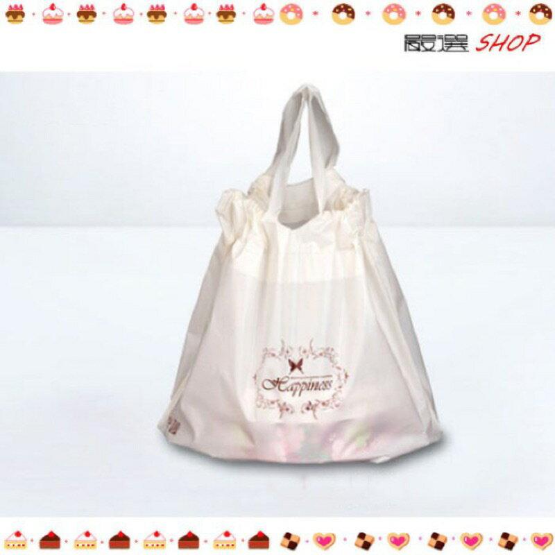 【嚴選SHOP】米白色 蛋糕袋 乳酪拉拉袋 塑膠袋 手提袋 抽繩袋 乳酪袋手提袋【D070】