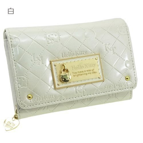【真愛日本】14021500008 雙折短夾-KT鎖頭菱格紋白 三麗鷗 Hello Kitty 凱蒂貓 零錢包 皮包