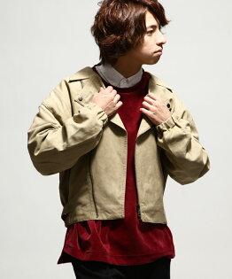 騎士夾克麂皮淺駝色