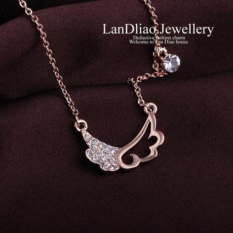 短款項鏈天使翅膀女鑲鑽結婚新娘配飾小首飾品
