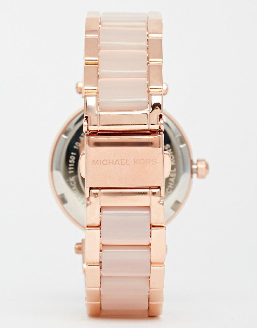 【限時8折 全店滿5000再9折】MichaelKors MK 大粉玫瑰金 水鑽  陶瓷  三環 手錶 腕錶 MK6110 美國Outlet正品代購 3