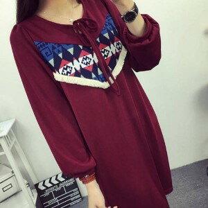 美麗大街【IR2121】民族風圖騰寬鬆連衣裙長袖洋裝