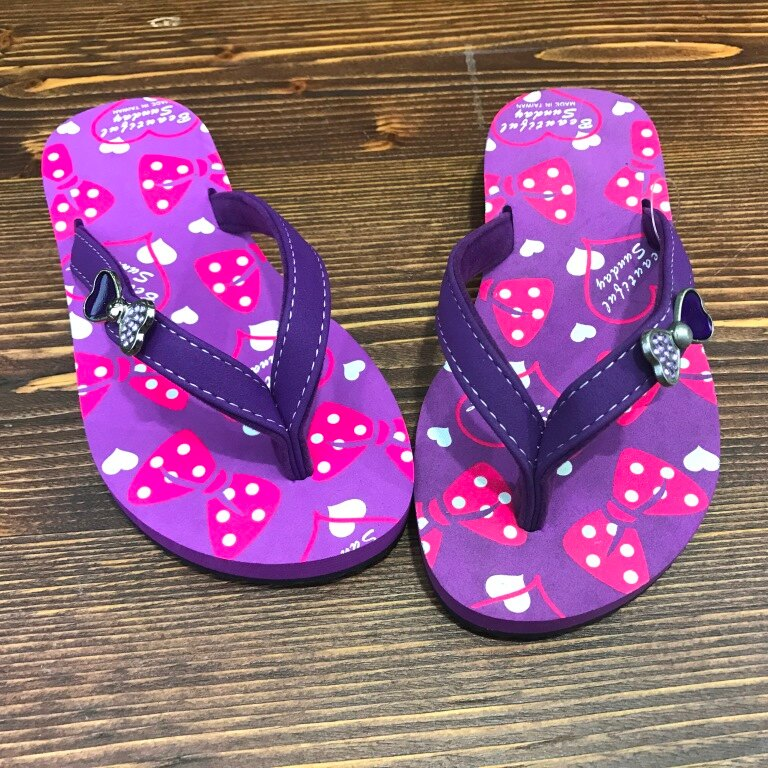 【巷子屋】女童蝴蝶結輕量夾腳拖鞋/人字拖 [96051] 紫 MIT台灣製造 超值價$100