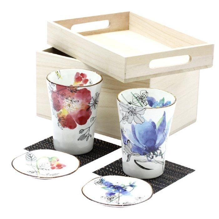 【日本和藍】花ゆら茶杯對杯組 (美濃燒) / 日式 無毒 瓷器 生日 結婚 送禮 工藝 收藏品 24期免運費
