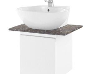電光雅客人造石玫瑰棕平台掛式素白色面盆櫃(不附水龍頭)/L5301K+LT5105N+PG060C