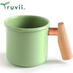 Truvii 木柄琺瑯杯/木頭琺瑯杯/琺瑯咖啡杯/日系雜貨風馬克杯 400ml 草本綠