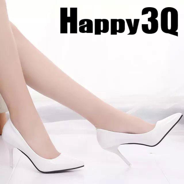 歐美性感漆皮純色尖頭細高跟鞋-黑/米/紅/白34-40【AAA0100】