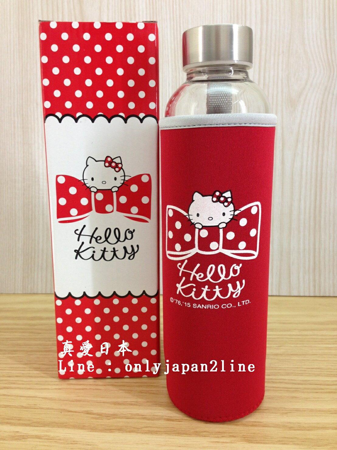 【真愛日本 】16061600040KT享樂隨身瓶含布套  三麗鷗 Hello Kitty 凱蒂貓    水壺 茶壺 水瓶