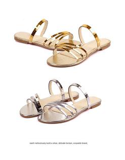 Pyf♥金屬色鏡面簡約一字細帶女神風羅馬拖鞋兩穿金色平底涼鞋加大46大尺碼女鞋