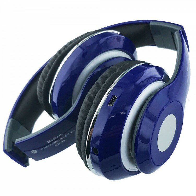 Bluetooth Wireless Headphones with Built In FM Tuner, Memory Card Slot and Mic - Blue 1
