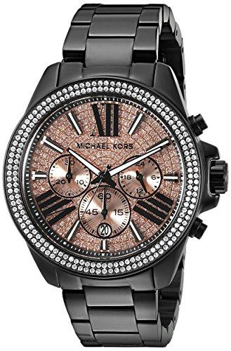 Outlet正品代購 Michael Kors MK 粉夜閃耀星空羅馬晶鑽 黑色錶帶 三眼 手錶 腕錶 MK5879