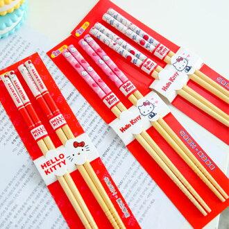 正版Hello Kitty竹筷(一組2入) 21cm 筷子 竹筷子 餐具 環保 凱蒂貓 KT 台灣製【B061387】