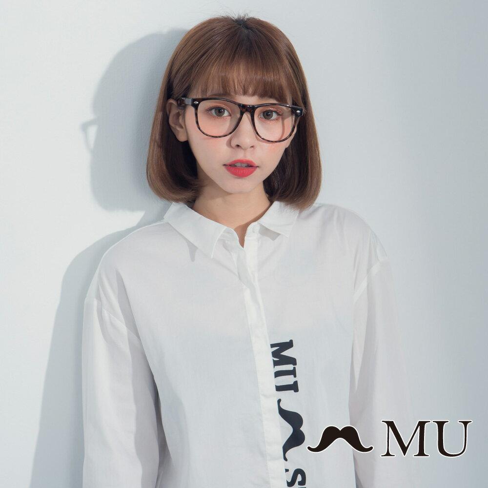 【MU】LOGO印花前短後長後開岔襯衫 8323163 4