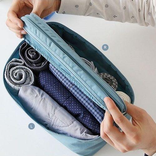 PS Mall 旅行多 襪子內衣雙開分隔收納包便攜洗漱包~J1641~
