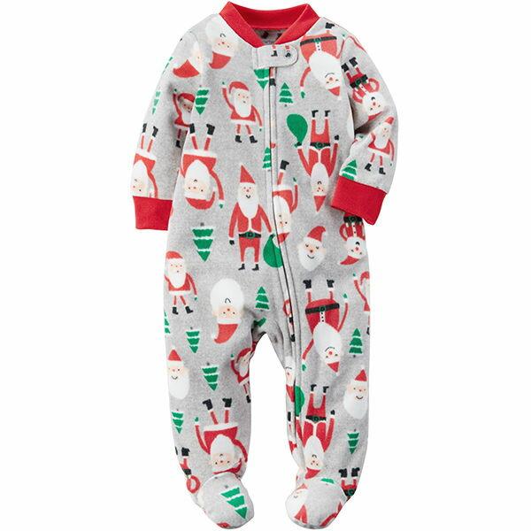 Carter's 美國童裝 連身衣 長褲 長袖 包腳 灰色 聖誕老公公 聖誕樹 聖誕節 3M 6M 9M