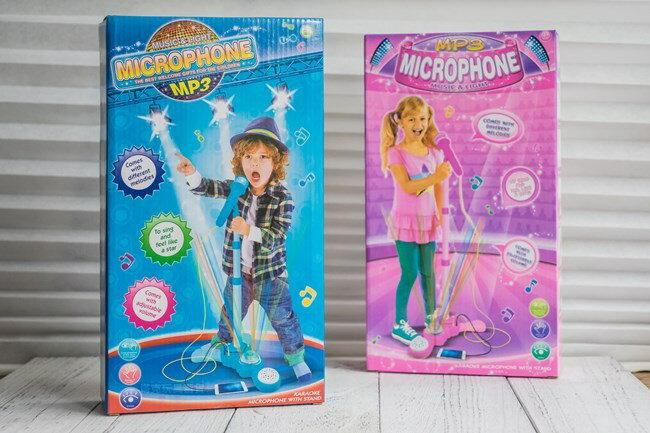 三段高度調節 MP3 麥克風(單人版) 男 女兩款 同歡麥克風 閃光隨身卡拉OK 玩具【塔克】