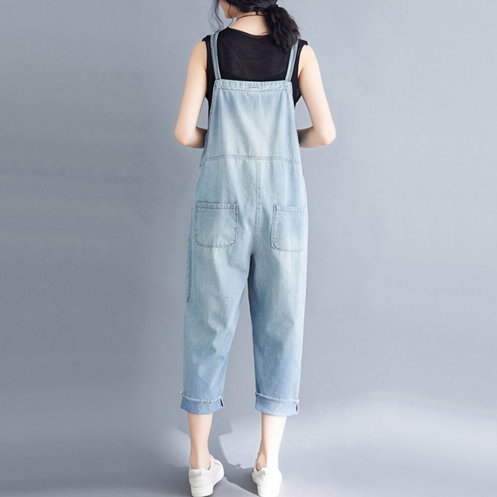文藝大碼背帶牛仔褲(藍色S~3XL)【OREAD】 2
