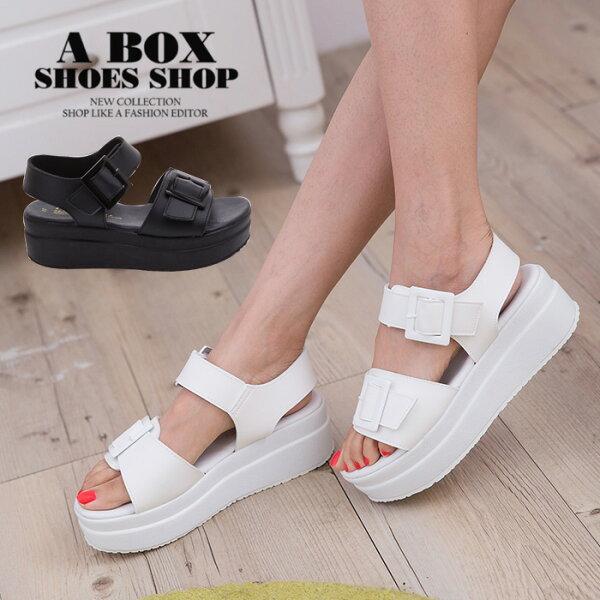 【KDW5231】MIT台灣製韓國街頭時尚經典皮革材質5.5CM厚底增高涼鞋2色
