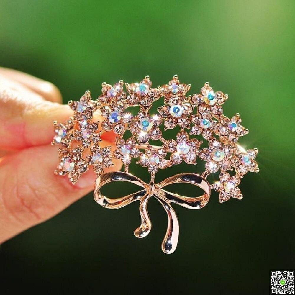 時尚韓版大衣西裝配飾別針滿?水晶蝴蝶結花朵胸針胸花女插針 都市時尚