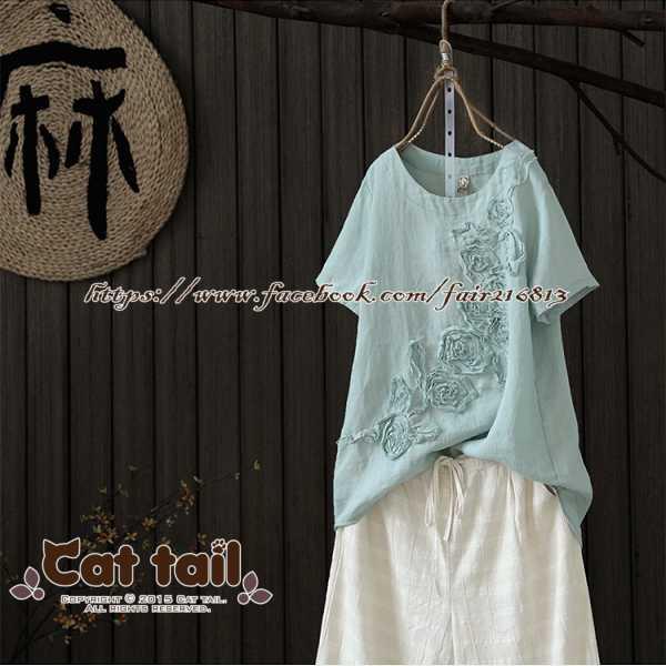 《貓尾巴》JP-01855中國風復古立體花朵短袖T恤(森林系日系棉麻文青清新)