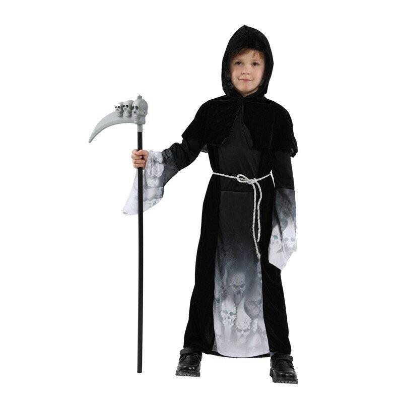東區派對-  ,萬聖節服裝/萬聖節鬼袍/死神袍/黑袍服裝/魔幻骷髏小男孩