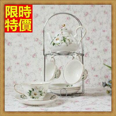下午茶茶具 含茶壺+咖啡杯組合-6人美觀時尚歐式骨瓷茶具8色69g38【獨家進口】【米蘭精品】
