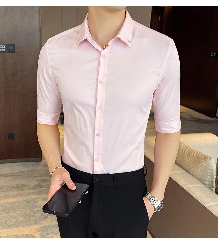 FINDSENSE X  男襯衫短袖修身 帥氣襯衣商務休閑半袖五分