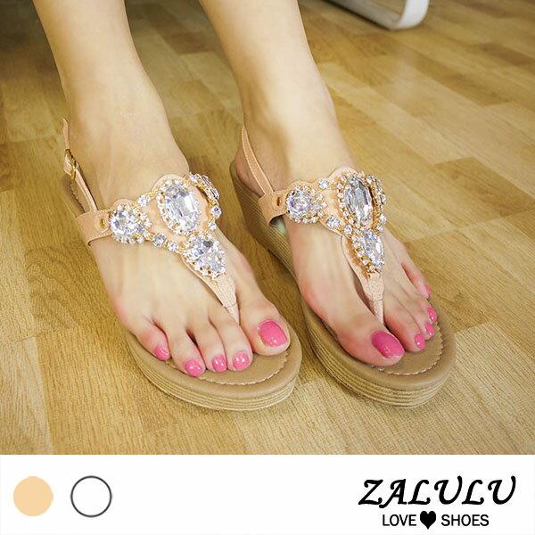 ZALULU愛鞋館M0699預購大鑽閃閃斜坡跟顯瘦涼鞋-白粉-35-39