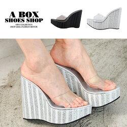 【KD957A】優雅氣質超高跟楔型鞋 亮片透明涼鞋 12.5CM  MIT台灣製 2色