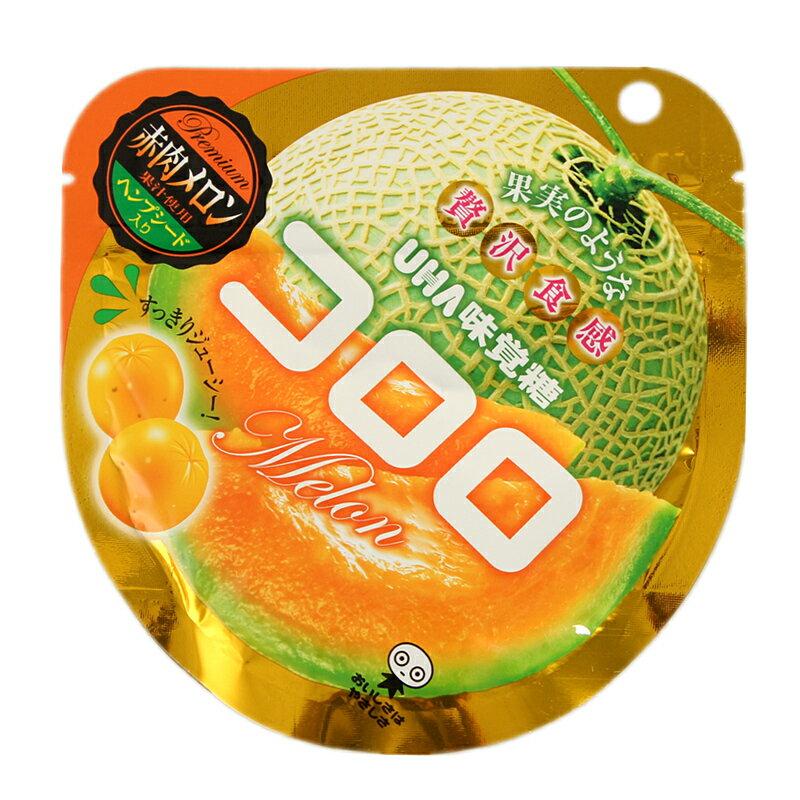UHA味覺糖100%果汁哈蜜瓜軟糖  40g コロロ 赤肉メロン