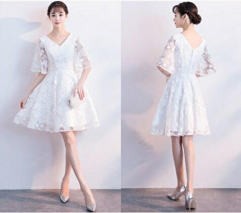 天使嫁衣【MSMD547】清純白色V領寬口袖小花織網收腰短禮服˙預購客製款