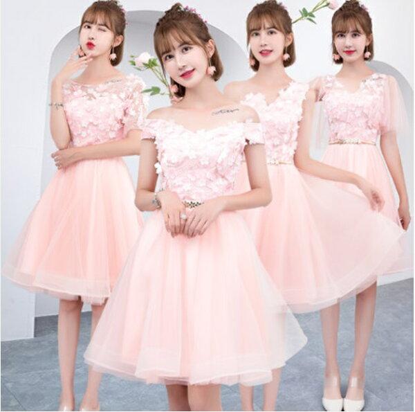 天使嫁衣【BL158】粉嫩嬌媚花片優雅4款短禮服˙預購客製款