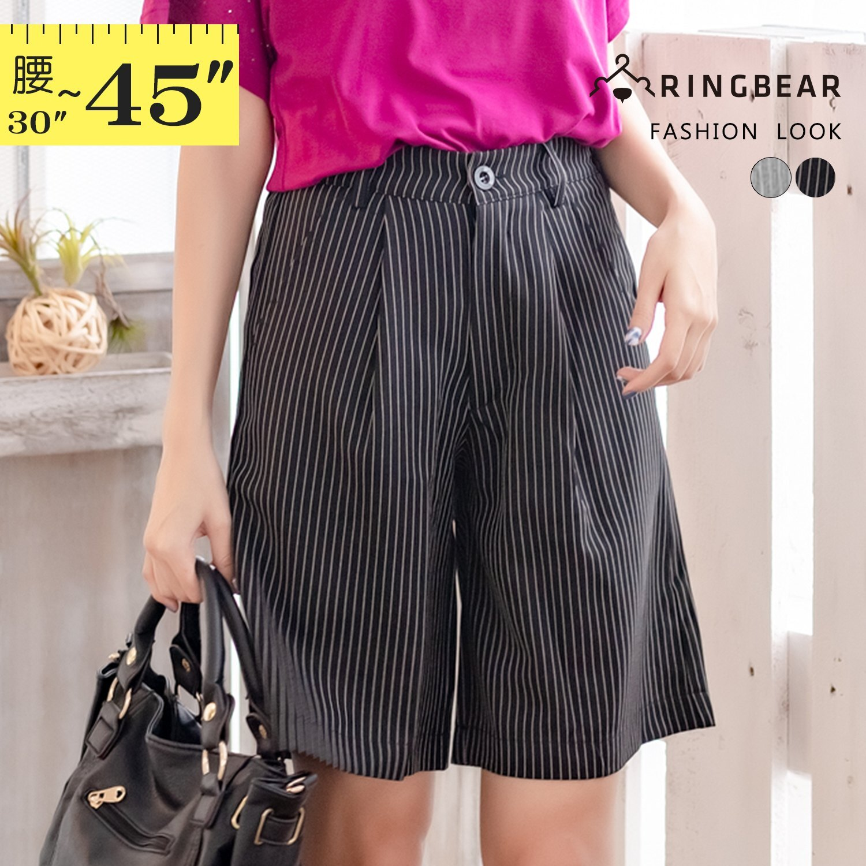 五分褲--雅緻格調知性魅力OL首選質感直條挺版雙口袋五分褲(黑.灰XL-5L)-R178眼圈熊中大尺碼 1