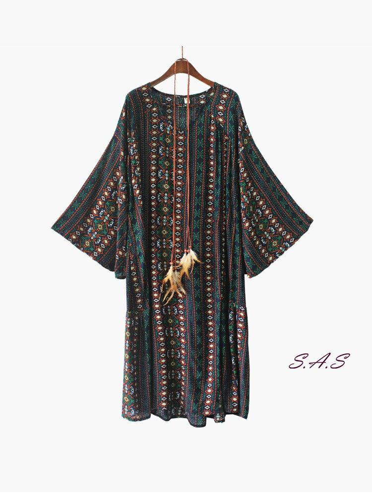 【售完】波希米亞V領寬鬆洋裝 民族風洋裝 波希米亞洋裝 渡假連身裙 飄逸連身裙 寬鬆洋裝 大V領洋裝 366