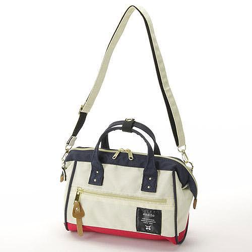 anello紅白色小側背手提兩用包日本帶回正版帆布水洗A5放的下!AT-H0851