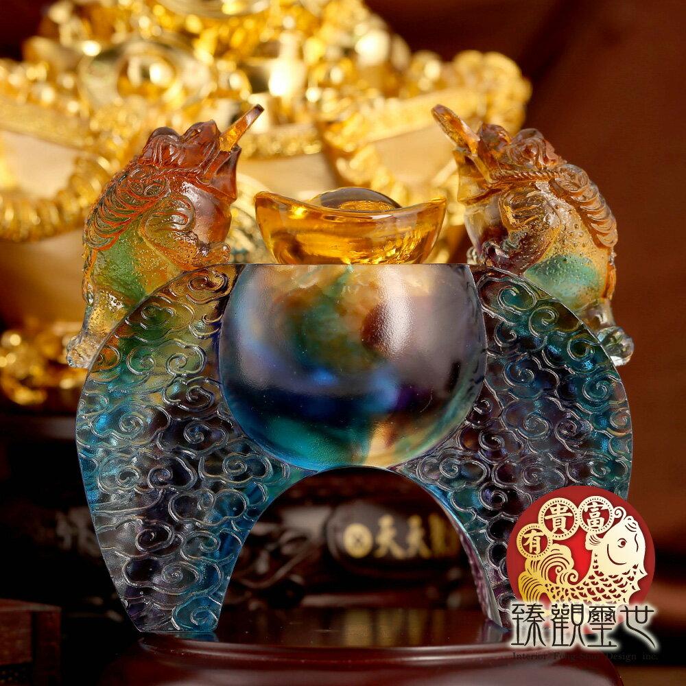 富貴寶鼎 古法琉璃蟾蜍元寶開光聚寶盆 (送黃水晶) 臻觀璽世 IS4134