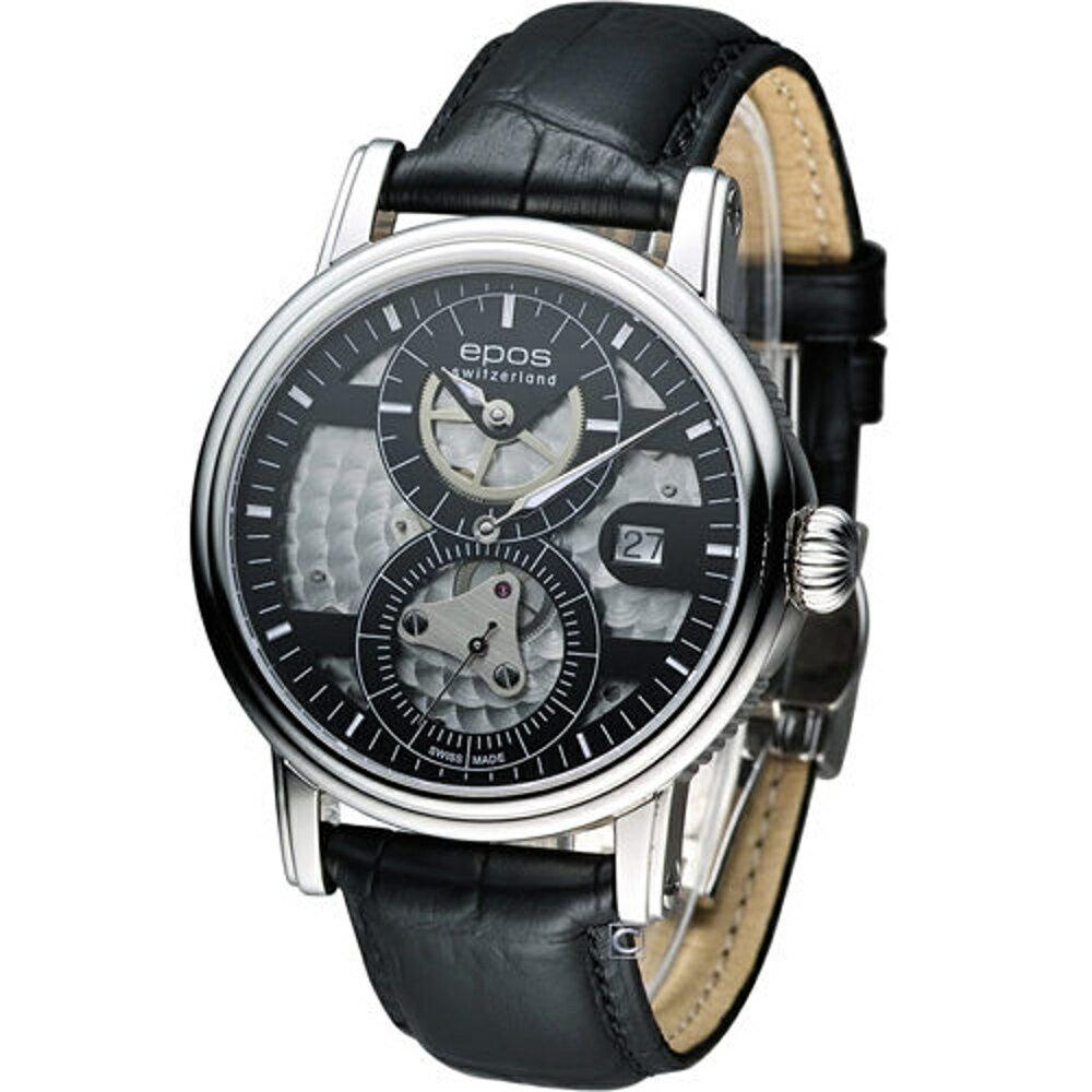 EPOS 愛寶時錶 三針一線限量機械錶 3392.858.20.15.25FB - 限時優惠好康折扣