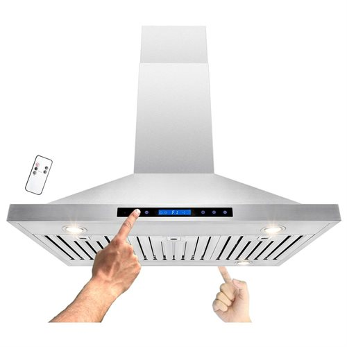 "36"" Stainless Steel Island Mount Dual LED Touch Control Panel Kitchen Range Hood w/ Remote 0"