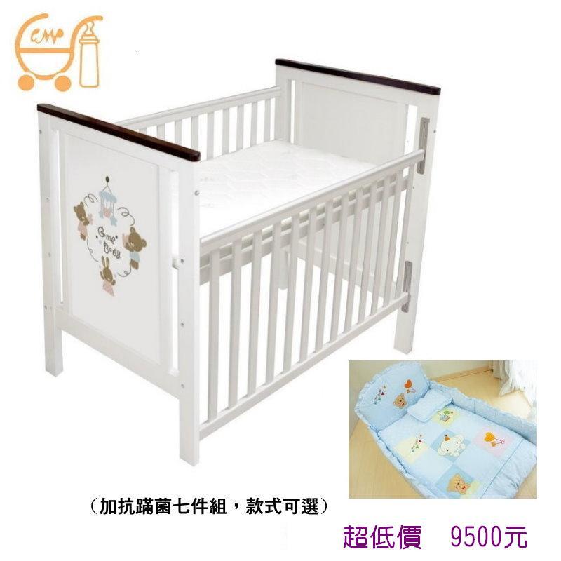 *美馨兒* 東京西川 GMP BABY 樂園嬰兒床(椰墊)+側板X-027新款(白色)+抗蹣菌嬰兒被組七件組9500元