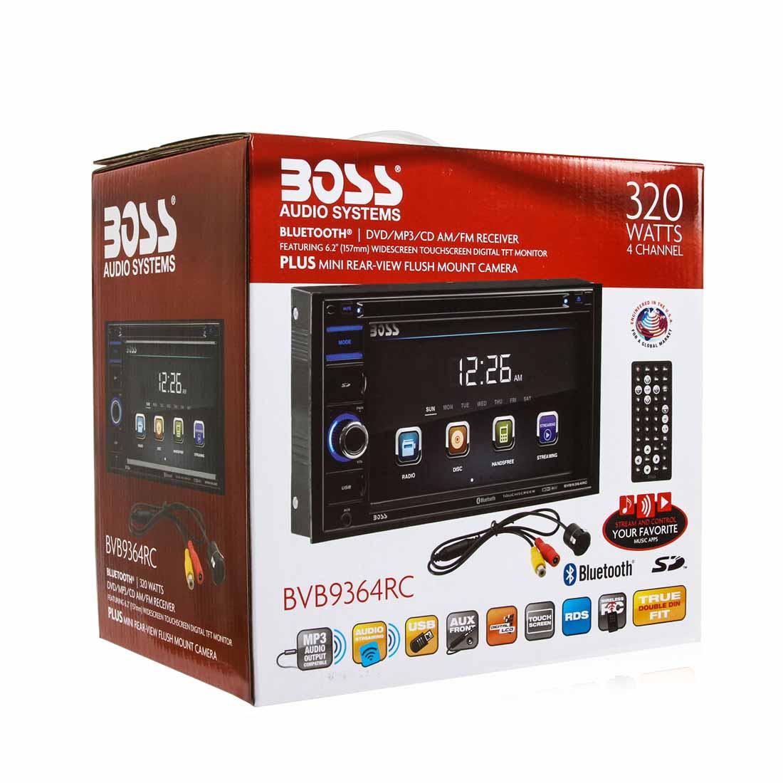 """Boss BVB9364RC 2-DIN DVD Bluetooth Receiver 6.2"""" Touchscreen w/ Rear View Camera 0"""