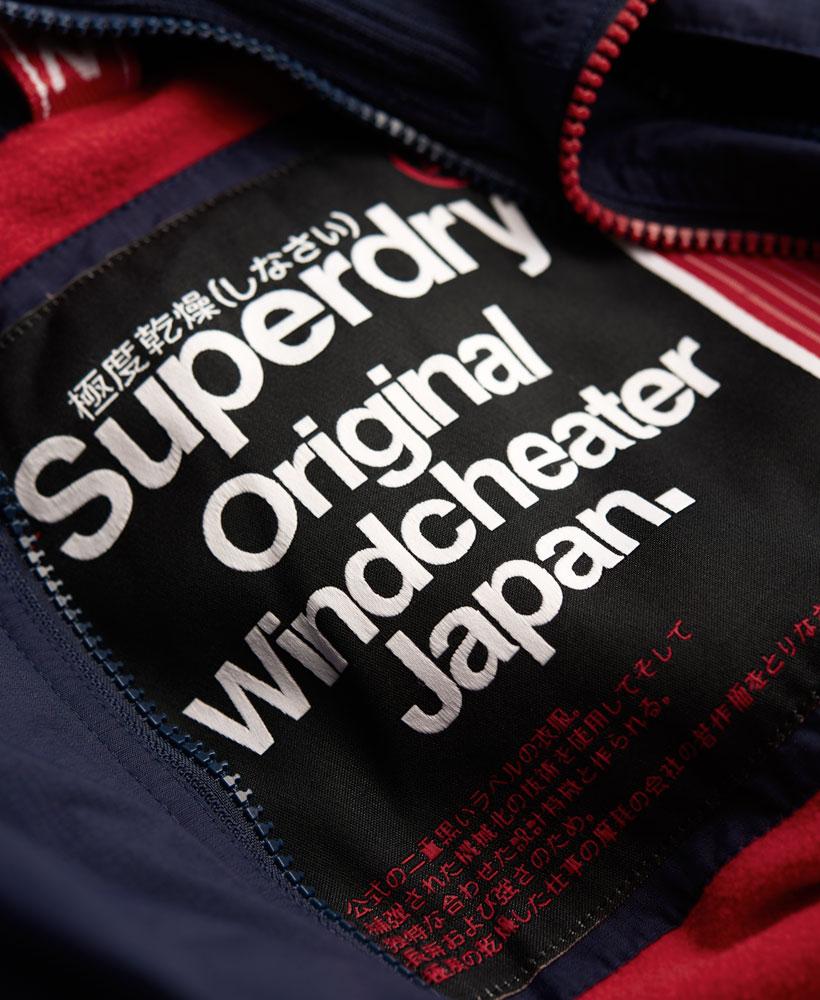 [男款] Outlet英國 極度乾燥 Pop Zip Hooded系列 男款 三層拉鍊 連帽防風衣夾克 海軍藍/叛逆紅 4
