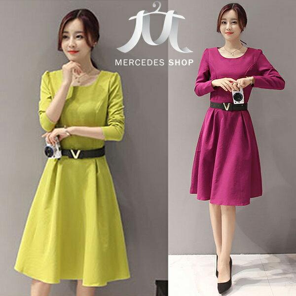 梅西蒂絲Mercedes Shop:《現貨出清5折》素色百搭A字裙顯瘦長袖洋裝-S-2XL-梅西蒂絲(現貨+預購)